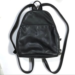 Aurielle black leather backpack purse